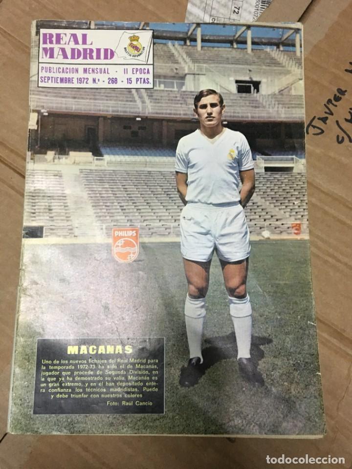 REVISTA OFICIAL REAL MADRID Nº 268 SEPTIEMBRE 1972 MACANAS MIGUEL MUÑOZ (Coleccionismo Deportivo - Revistas y Periódicos - otros Fútbol)