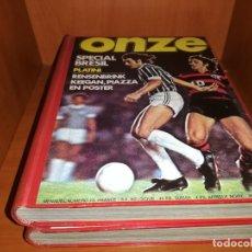 Coleccionismo deportivo: REVISTA EL ONZE. EDICION INTERNACIONAL EN FRANCES 2 TOMOS DESDE EL NUMERO 1 AL 22.. Lote 180846272