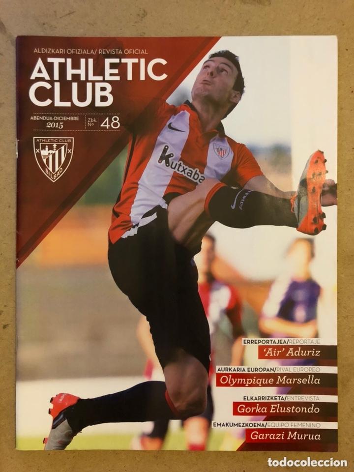 """ATHLETIC CLUB REVISTA OFICIAL N° 48 (DICIEMBRE 2015). ARITZ """"AIR"""" ADURIZ, UEFA VS OLYMPIQUE MARSELLA (Coleccionismo Deportivo - Revistas y Periódicos - otros Fútbol)"""