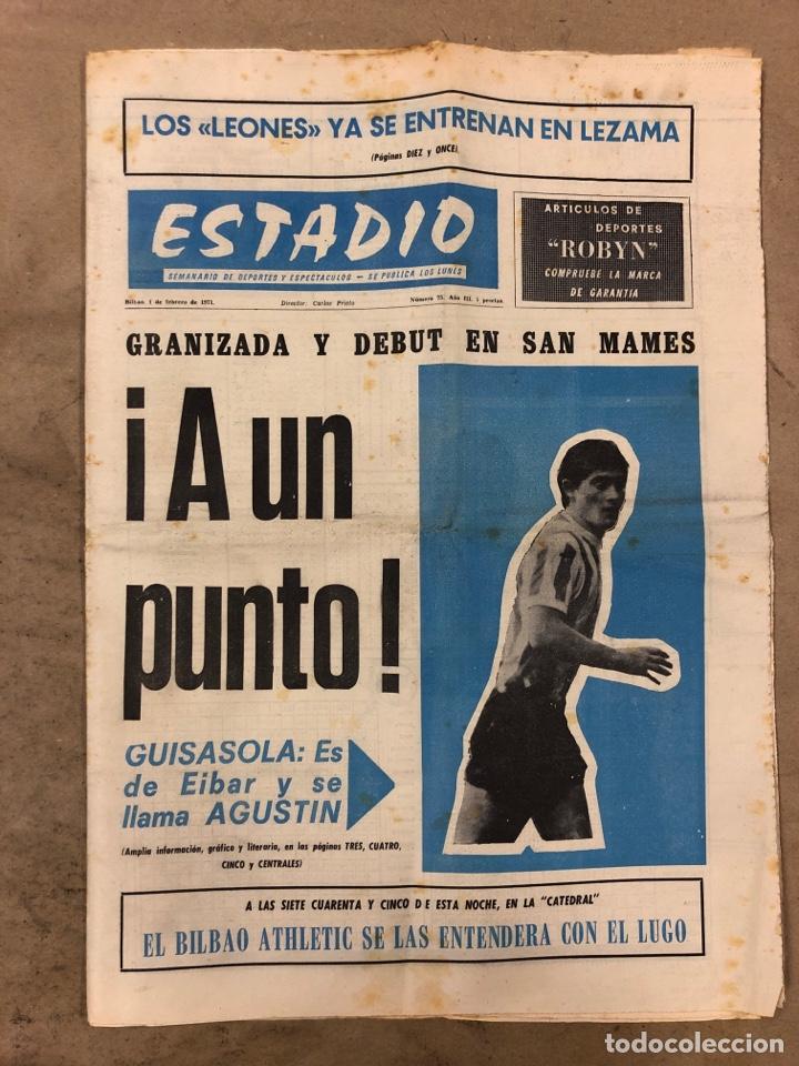 ESTADIO N° 75 (1/2/1971). ATHLETIC CLUB 2-0 CELTA VIGO. PARTIDOS LIGA 1ª, 2ª, 3ª, LEZAMA, GUISASOLA (Coleccionismo Deportivo - Revistas y Periódicos - otros Fútbol)