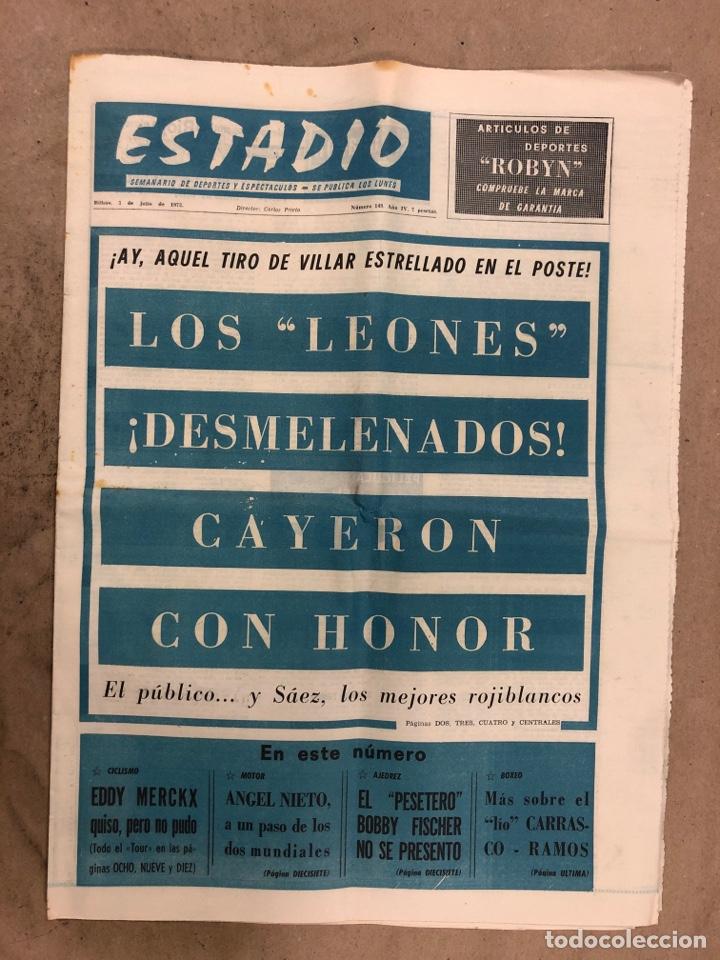 ESTADIO N° 149 (2/7/1972). ATHLETIC CLUB 3-1 ATLÉTICO DE MADRID COPA DEL GENERALÍSIMO, ÁNGEL NIETO,. (Coleccionismo Deportivo - Revistas y Periódicos - otros Fútbol)