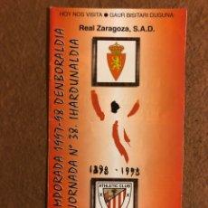 Coleccionismo deportivo: ATHLETIC CLUB BILBAO 1-0 REAL ZARAGOZA. PROGRAMA PARTIDO TEMPORADA CENTENARIO 97/98. CHAMPIONS LEAGU. Lote 178160170