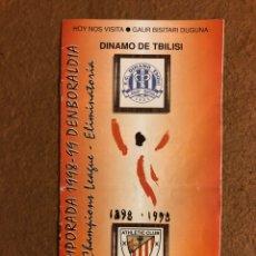 Coleccionismo deportivo: ATHLETIC CLUB BILBAO 1-0 DINAMO TBILISI. PROGRAMA PARTIDO PREVIA CHAMPIONS LEAGUE 1998/99. Lote 178160247