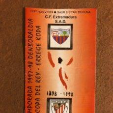 Coleccionismo deportivo: ATHLETIC CLUB BILBAO 4-0 C.F. EXTREMADURA. PROGRAMA OFICIAL PARTIDO COPA DEL REY 1/8, 1997/98.. Lote 178160515