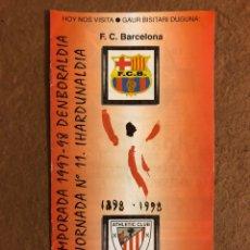 Coleccionismo deportivo: ATHLETIC CLUB BILBAO 3-0 F.C. BARCELONA. PROGRAMA OFICIAL PARTIDO JORNADA 11, TEMPORADA 97/98.. Lote 178160557
