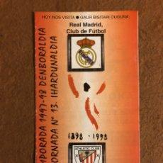 Coleccionismo deportivo: ATHLETIC CLUB BILBAO 1-1 REAL MADRID C.F. PROGRAMA OFICIAL PARTIDO JORNADA 13, TEMPORADA 97/98.. Lote 178160600