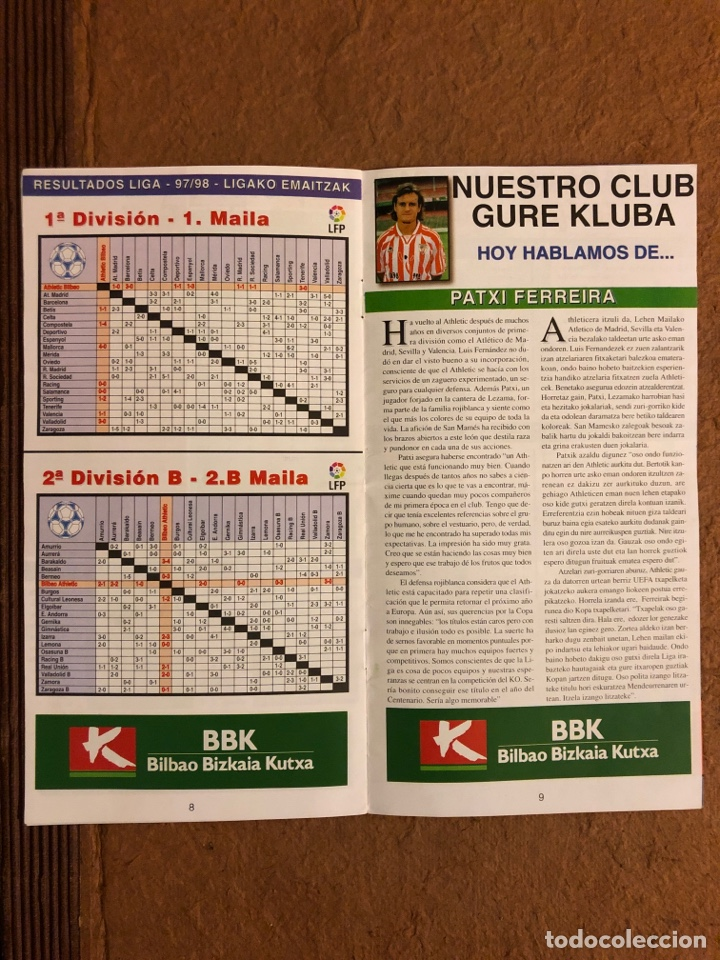 Coleccionismo deportivo: ATHLETIC CLUB BILBAO 1-1 REAL CELTA VIGO. PROGRAMA OFICIAL PARTIDO JORNADA 16, TEMPORADA 97/98. - Foto 2 - 178160634