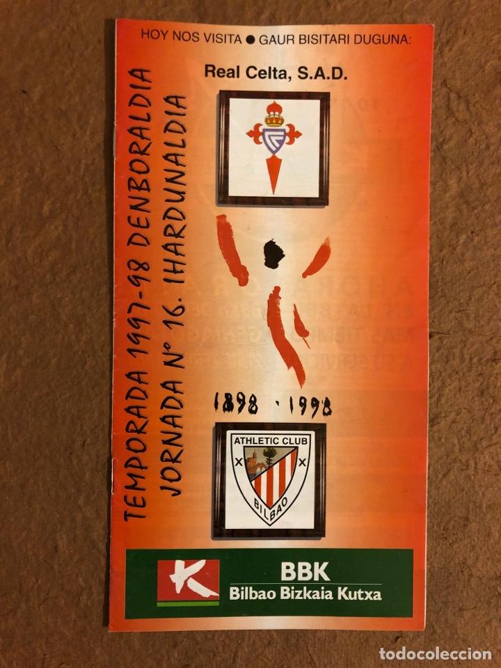 ATHLETIC CLUB BILBAO 1-1 REAL CELTA VIGO. PROGRAMA OFICIAL PARTIDO JORNADA 16, TEMPORADA 97/98. (Coleccionismo Deportivo - Revistas y Periódicos - otros Fútbol)