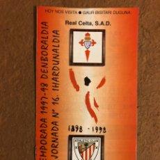 Coleccionismo deportivo: ATHLETIC CLUB BILBAO 1-1 REAL CELTA VIGO. PROGRAMA OFICIAL PARTIDO JORNADA 16, TEMPORADA 97/98.. Lote 178160634
