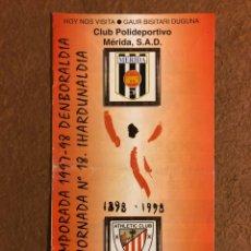 Coleccionismo deportivo: ATHLETIC CLUB BILBAO 0-0 CLUB DEPORTIVO MÉRIDA. PROGRAMA OFICIAL PARTIDO JORNADA 18, 1997/98.. Lote 178160665