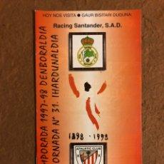Coleccionismo deportivo: ATHLETIC CLUB BILBAO 0-0 RACING SANTANDER. PROGRAMA OFICIAL PARTIDO JORNADA 31, TEMPORADA 97/98.. Lote 178160747