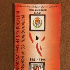 Coleccionismo deportivo: ATHLETIC CLUB BILBAO 3-0 REAL VALLADOLID. PROGRAMA OFICIAL PARTIDO JORNADA 33, TEMPORADA 97/98.. Lote 178160808