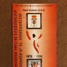 Coleccionismo deportivo: ATHLETIC CLUB BILBAO 1-2 REAL OVIEDO. PROGRAMA OFICIAL PARTIDO JORNADA 36, TEMPORADA 1997/98.. Lote 178160873