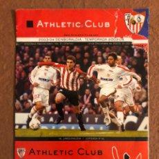 Coleccionismo deportivo: ATHLETIC CLUB BILBAO 2-1 SEVILLA FC. PROGRAMA OFICIAL PARTIDO JORNADA 16, TEMPORADA 2003/04. Lote 178250332