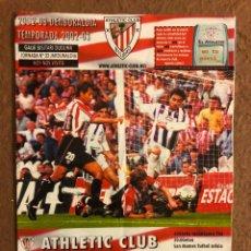Collectionnisme sportif: ATHLETIC CLUB BILBAO 0-0 REAL VALLADOLID. PROGRAMA OFICIAL PARTIDO JORNADA 37, TEMPORADA 02/03.. Lote 178250405