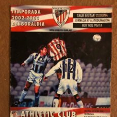 Collectionnisme sportif: ATHLETIC CLUB BILBAO 1-1 MÁLAGA C.F. PROGRAMA OFICIAL PARTIDO JORNADA 6, TEMPORADA 2002/03.. Lote 178250575