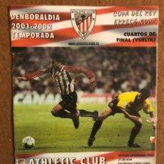 Collectionnisme sportif: ATHLETIC CLUB BILBAO 1-0 VILLARREAL C.F. PROGRAMA OFICIAL PARTIDO 1/4 COPA DEL REY, TEMPORADA 01/02.. Lote 178250640