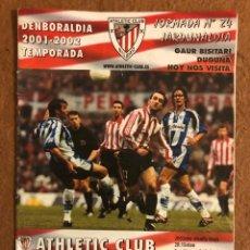 Collectionnisme sportif: ATHLETIC CLUB DE BILBAO 3-2 MÁLAGA C.F. PROGRAMA OFICIAL PARTIDO JORNADA 24, TEMPORADA 2001/02.. Lote 178250707