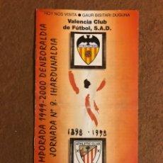 Collectionnisme sportif: ATHLETIC CLUB DE BILBAO 1-0 VALENCIA C.F. PROGRAMA OFICIAL PARTIDO JORNADA 8, TEMPORADA 1999/00.. Lote 178250892