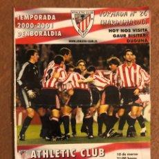 Collectionnisme sportif: ATHLETIC CLUB DE BILBAO 1-1 VILLARREAL C.F. PROGRAMA OFICIAL PARTIDO JORNADA 26, TEMPORADA 2000/01.. Lote 178251033