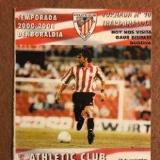 Coleccionismo deportivo: ATHLETIC CLUB DE BILBAO 2-1 REAL CELTA DE VIGO. PROGRAMA OFICIAL PARTIDO JORNADA 10, TEMPORADA 00/01. Lote 178251095