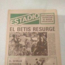 Coleccionismo deportivo: ESTADIO SUPLEMENTO DEPORTIVO NUEVA ANDALUCIA.EL BETIS RESURGE.VENCIO AL BARCA.SEVILLA FRACASA.VER. Lote 179116097