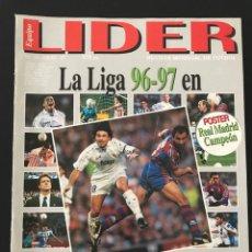 Coleccionismo deportivo: FÚTBOL LÍDER 15 - PÓSTER REAL MADRID - LIGA 96/97 - JUVENTUS - CANTONA - ZARAGOZA - DON BALÓN MARCA. Lote 182065547