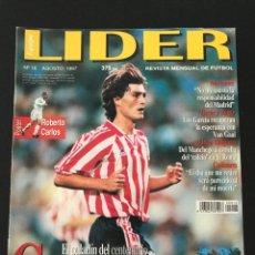 Coleccionismo deportivo: FÚTBOL LÍDER 16 - GUERRERO - PÓSTER R. CARLOS - MORIENTES - MERIDA - LUIS ARAGONÉS - DON BALÓN AS. Lote 182066340