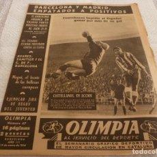 Coleccionismo deportivo: (LLL)-OLIMPIA Nº:67(19-1-54)JAÉN 2 BARÇA 2,ESPAÑOL 1 OSASUNA 0,EL AT. CLUB VENUS. Lote 183305466