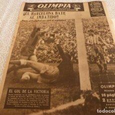 Coleccionismo deportivo: (LLL)OLIMPIA Nº: 14(16-12-52)BARÇA 2 ESPAÑOL 1,BARÇA CAPIT.3,FIGURA:MANCHÓN,MIGUEL POBLET. Lote 183542320