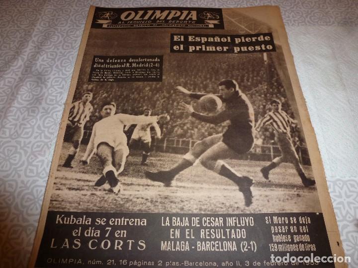 (LLL)OLIMPIA Nº: 21(3-2-53)BARÇA CAPIT.10,FIGURA:TERUEL,ESPAÑOL 2 R.MADRID 4,MALAGA 2 BARÇA 1 (Coleccionismo Deportivo - Revistas y Periódicos - otros Fútbol)