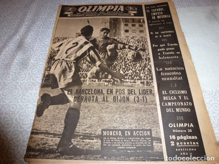 (LLL)OLIMPIA Nº: 23(17-2-53)BARÇA CAPIT.12,FIGURA:SEGARRA,VALENCIA 1 ESPAÑOL 1,BARÇA 3 GIJÓN 1 (Coleccionismo Deportivo - Revistas y Periódicos - otros Fútbol)