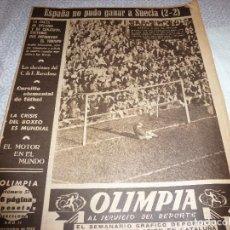 Coleccionismo deportivo: (LLL)OLIMPIA Nº: 57(10-11-53)EN SAN MAMÉS ESPAÑA 2 SUECIA 2. Lote 183553445