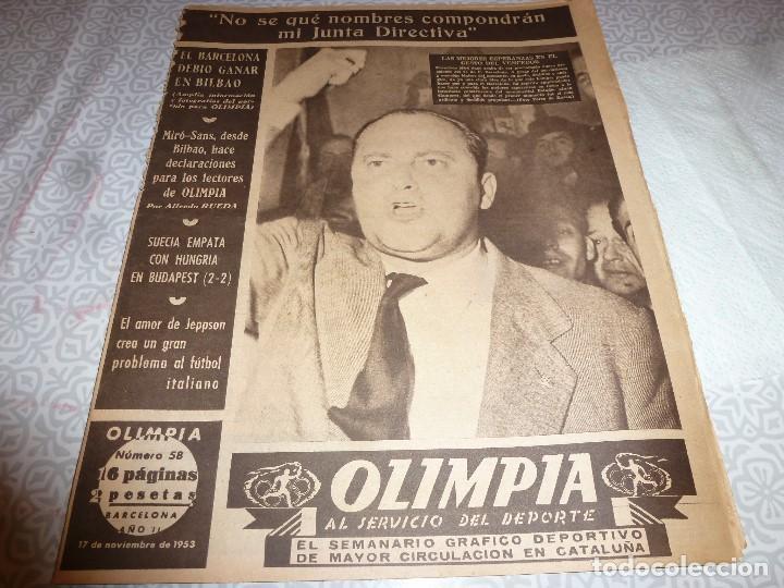 (LLL)OLIMPIA Nº: 58(17-11-53)BILBAO 2 BARÇA 1,ESPAÑOL 3 GIJÓN 0,EL C.D. BERGADÁ (Coleccionismo Deportivo - Revistas y Periódicos - otros Fútbol)