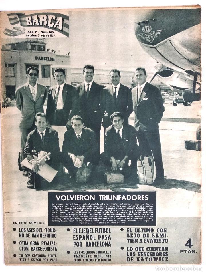 BARÇA Nº 185 - LA ZONA DEPORTIVA DEL BARCELONA - LUIS SUAREZ - DI STEFANO - EL BARCELONA - AÑO 1959 (Coleccionismo Deportivo - Revistas y Periódicos - otros Fútbol)