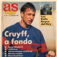 Coleccionismo deportivo: REVISTA AS COLOR, Nº 301-AÑO 1991. REPORTAJES: CRUYFF A FONDO, BIOGRAFIA MICHAEL JORDAN Y OTROS.. Lote 185961721