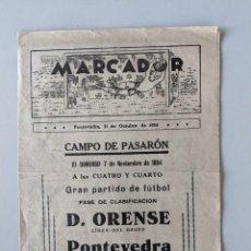 Coleccionismo deportivo: RRR - PONTEVEDRA 31 OCTUBRE 1954 - MARCADOR - CON RESULTADOS FUTBOL. Lote 185983762