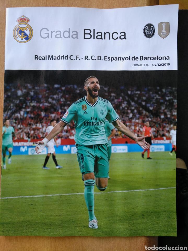 REAL MADRID - ESPANYOL 7/12/2019 GRADA BLANCA PROGRAMA POSTER RAMOS (Coleccionismo Deportivo - Revistas y Periódicos - otros Fútbol)