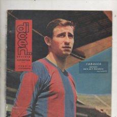 Colecionismo desportivo: DICEN REVISTA DEPORTIVA NUMERO 495 ZABALLA FUTBOL CLUB BARCELONA FOTO COLOR GERONA 1961/ 62.DA. Lote 186264397