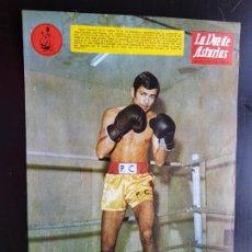 Coleccionismo deportivo: PÓSTER ORIGINAL PEDRO CARRASCO CON PUBLICIDAD 1967 BOXEO LA VOZ DE ASTURIAS ÁGUILA NEGRA. Lote 187442406