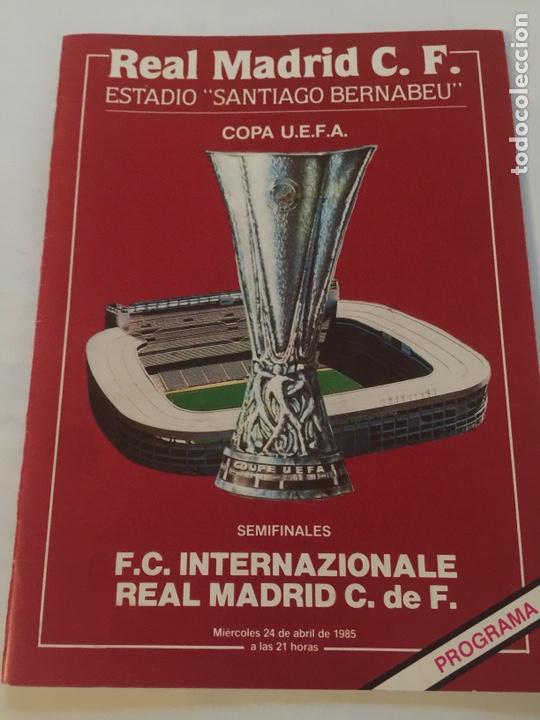 REAL MADRID ÍNTER SEMIFINAL UEFA PROGRAMA 24-4-1985 (Coleccionismo Deportivo - Revistas y Periódicos - otros Fútbol)