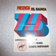 Coleccionismo deportivo: (LLL)PRESENCIA Nº: 348(14-12-74) EL BARÇA ESPECIAL 75 ANIVERSARIO-POSTER REXACH DOBLE PAGINA. Lote 188450723