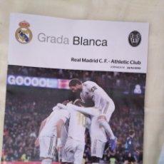 Coleccionismo deportivo: REAL MADRID - ATHLETIC CLUB 22/12/2019 GRADA BLANCA PROGRAMA POSTER VALVERDE. Lote 189123591