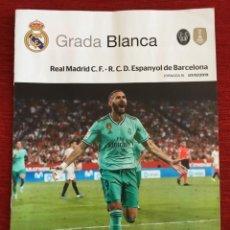 Coleccionismo deportivo: REVISTA PROGRAMA OFICIAL GRADA BLANCA REAL MADRID ESPANYOL LIGA 2019 2020 POSTER SERGIO RAMOS. Lote 189750730