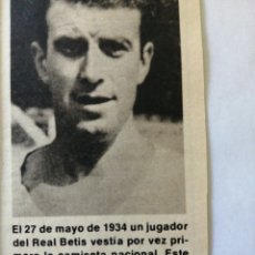 Coleccionismo deportivo: (RECORTE PRENSA)27 MAYO 1934 JUGADOR REAL BETIS SIMON LECUE, ESPAÑA. BRASIL. Lote 194201062