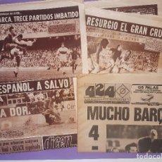 Coleccionismo deportivo: 4 DIARIOS FUTBOL, 3 DICEN... PRIMER DEPORTIVO TARDE BARCELONA 1974/75, Y 1 INDEPENDIENTE 424 1979. Lote 194588012
