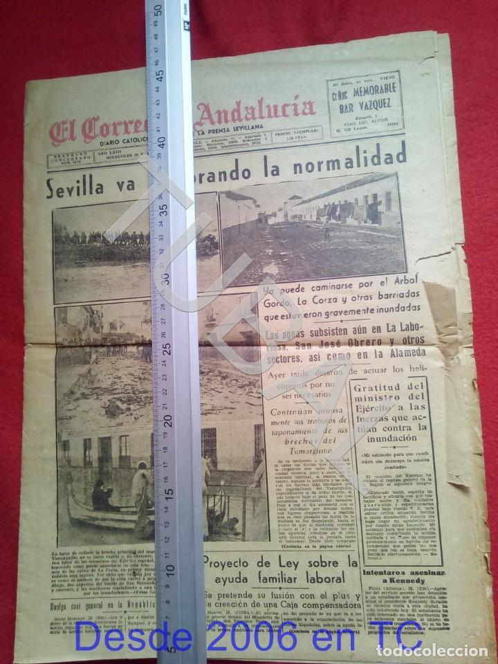 TUBAL INUNDACIONES SEVILLA CORREO DE ANDALUCIA 29 NOVIEMBRE 1961 (Coleccionismo Deportivo - Revistas y Periódicos - otros Fútbol)