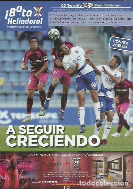 BOTA HELIODORO Nº 165.CD TENERIFE-RAYO VALLECANO.16/2/20.JOSELU. (Coleccionismo Deportivo - Revistas y Periódicos - otros Fútbol)