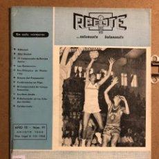 Coleccionismo deportivo: REBOTE, SOLAMENTE BALONCESTO N° 91 (AGOSTO 1968). PREOLIMPICO MONTERREY, LOU CARNESECCA,.... Lote 194962972