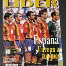Coleccionismo deportivo: REVISTA LIDER Nº 2 JUNIO 1996 ESPAÑA EUROPA A TUS PIES. Lote 194967957